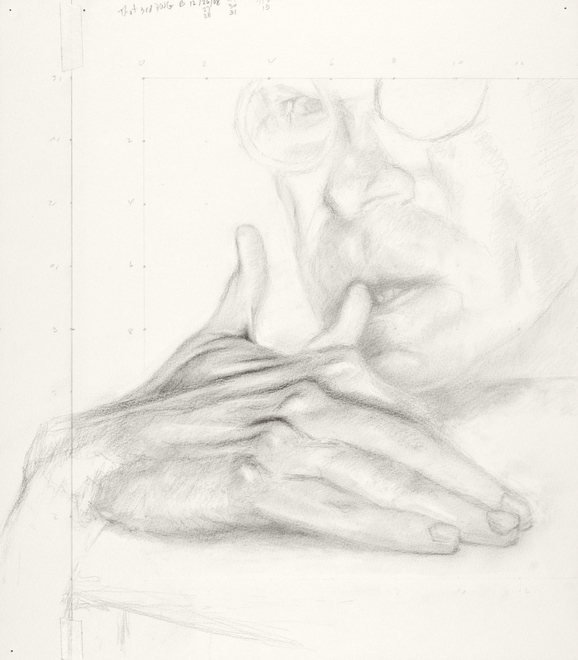 Self-portrait drawings Study of hand and face (one extra thumb) (THOT series, no. 3)
