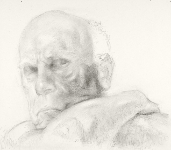 Self-portrait drawings Study of head and arm (1st RICHONFA, no. 1)