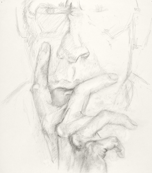 Self-portrait drawings Study of hand and face (IFP2LE) (B 12/28/09)