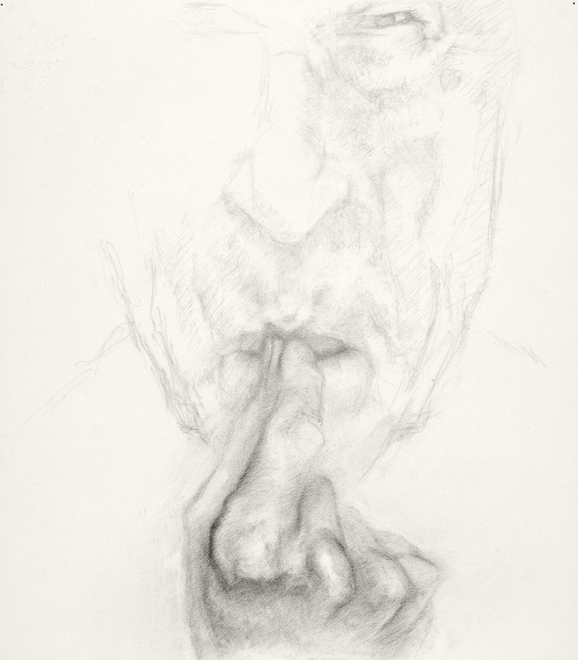 Self-portrait drawings Study of hand and face (B 1/7/10)