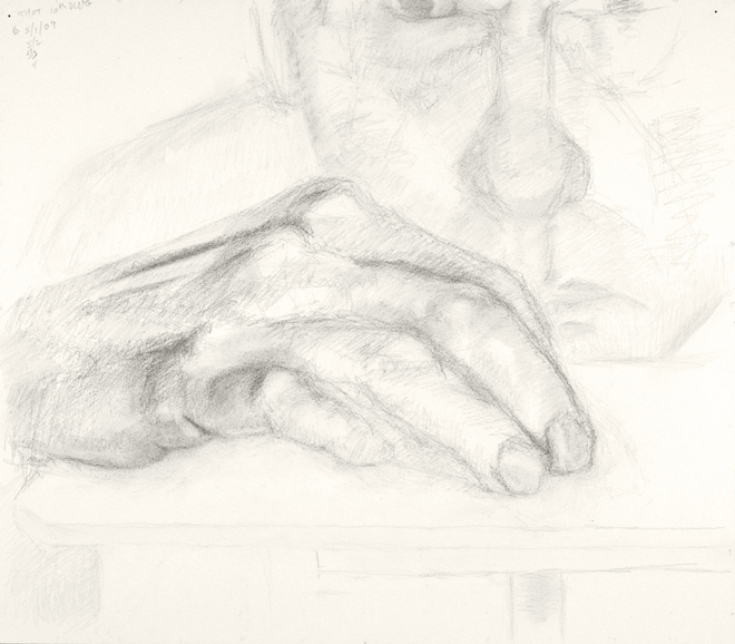 Self-portrait drawings Study of hand and face (THOT series, no. 10)