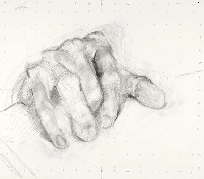Paintings and drawings of my left hand Study of left hand (3UPUL 2nd) (B 09/27)