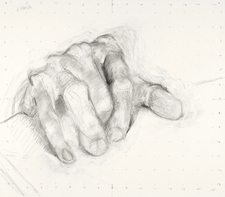 Paintings and drawings of my left hand graphite on paper