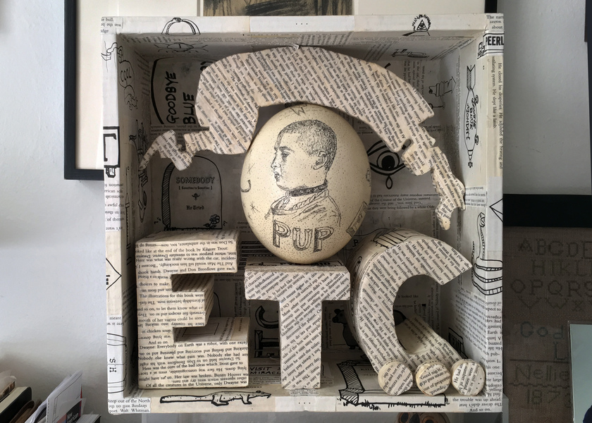 JEN BANDINI constructions Ostrich egg with Scrimshaw, book pages, paper, wood, PVA