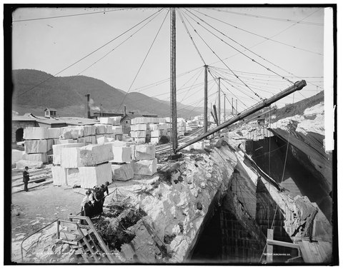 Marble quarry, Near Rutland, Green Mtns., Vt., between 1901 and 1906. Photographer: unknown, publisher: Detroit Publishing Company. From the Library of Congress Prints and Photographs Division Washington, D.C.