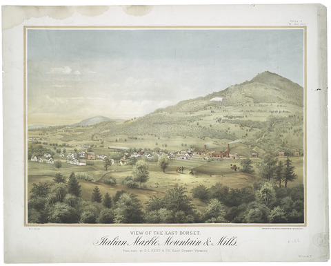 View of the East Dorset Italian Marble Mountains and Mills. Frank Childs, 1864. Lithographer: Ferdinand Mayer and Sons, publisher: D. L. Kent & Co. From The Miriam and Ira D. Wallach Division of Art, Prints and Photographs: Print Collection, The New York Public Library, Digital Collections