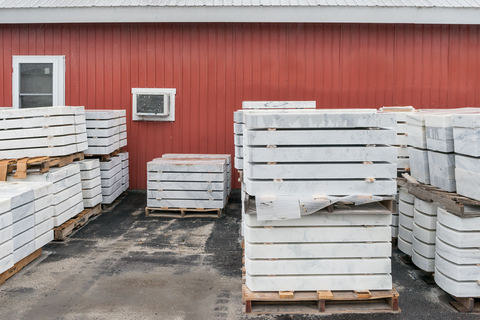 Blocks of Danby Quarry marble cut to become veteran gravestones, Granite Industries of Vermont
