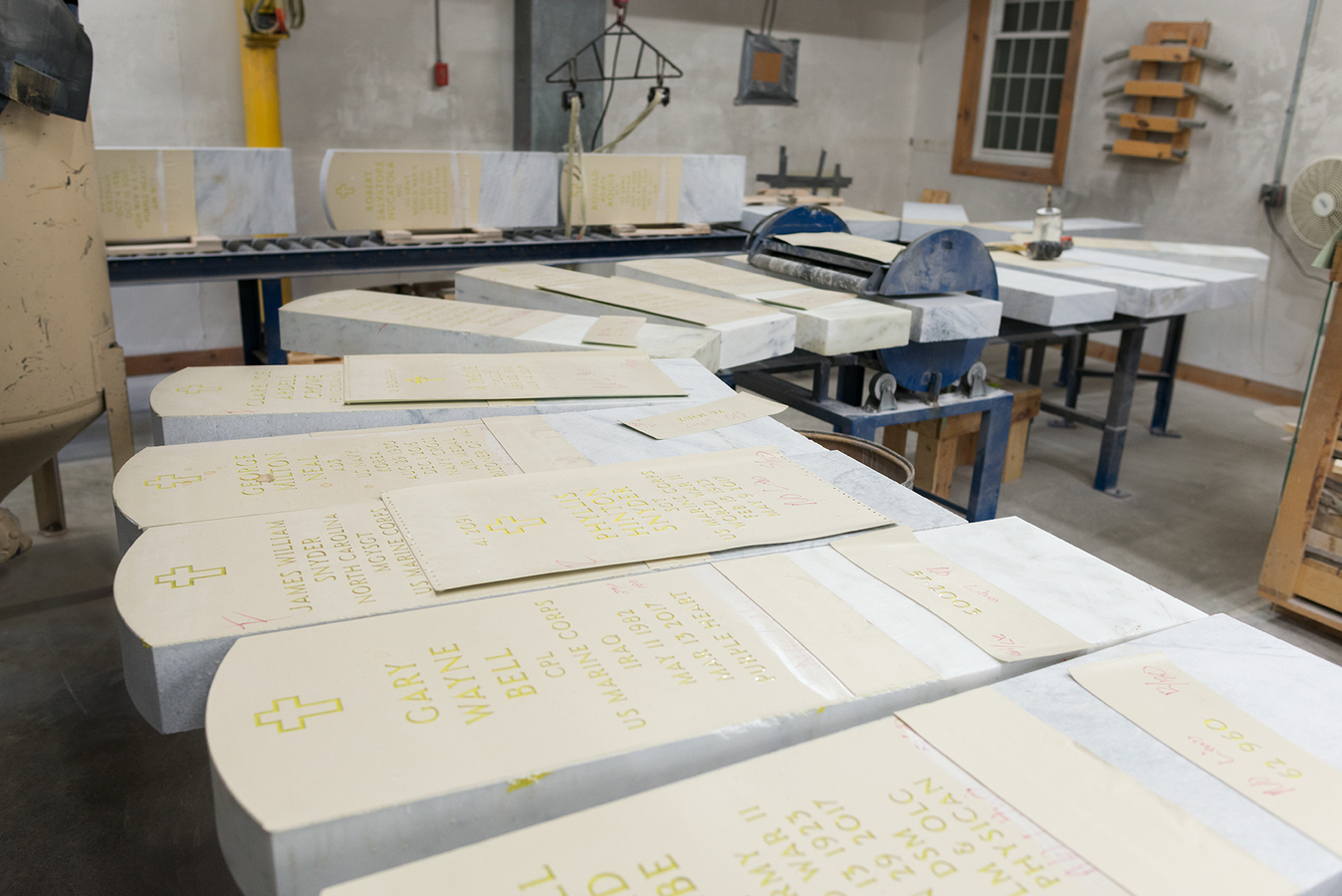 Memorial Veteran gravestones waiting to be sandblasted, Granite Industries of Vermont