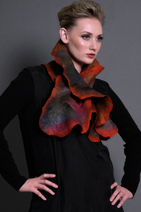 Wearable Art: Harlequin Feltworks Coral Scarf