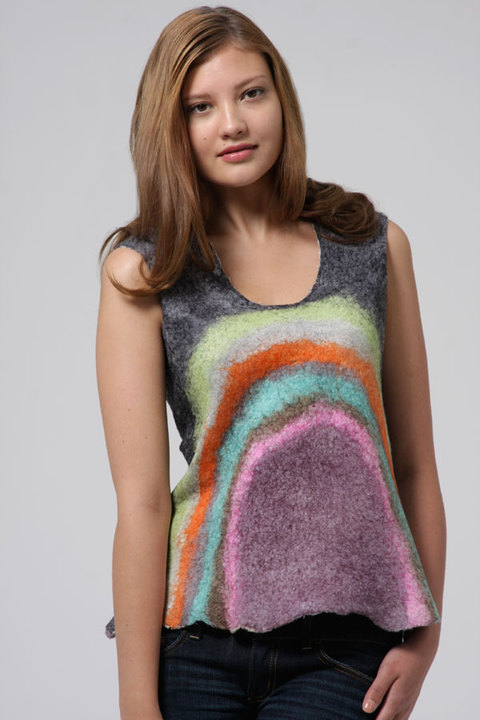 Wearable Art: Harlequin Feltworks Black Rainbow Top