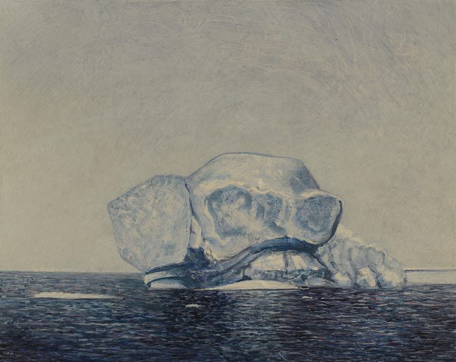 JENNILIE BREWSTER ICEBERGS ACRYLIC AND COLLAGE ON CANVAS