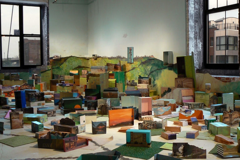 JENNILIE BREWSTER SPACES HOUSE PAINT ON WALLS AND FLOORS, SHOEBOX DIORAMAS, AND ASTROTURF