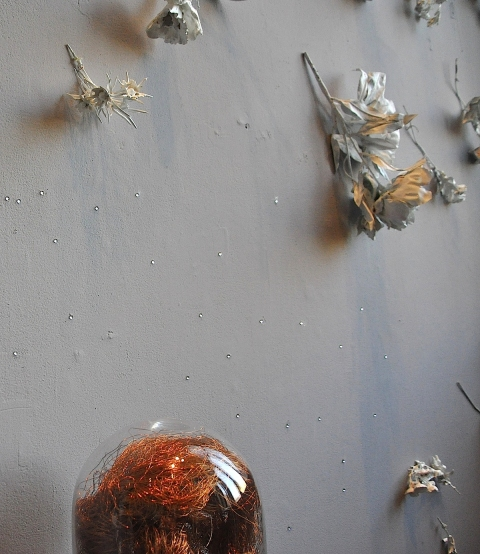 Swell bell jar . copper wire . plasticized silk flowers . rhinestones