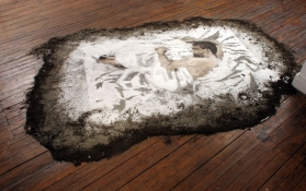 Jeph Gurecka organic material based paintings and Drawings 2000 - 2007 Salt, soil.ash, charcoal and concrete powder