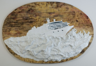 "Jeph Gurecka solo exhibition, ""Shiny Bright Souvenir"", 2008 31Grand Gallery, New York, NY. cast salt, resin, automotive enamel pearls, boat wax, mounted on faux distressed wood panel."