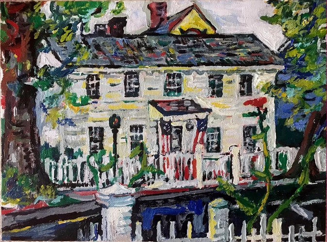 "Jerelyn Hanrahan OYSTER BAY, HOMETOWN SERIES.             PAINTINGS ON ARCHITECTURE 10"" x 12"""