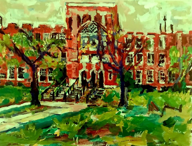 Jerelyn Hanrahan OYSTER BAY, HOMETOWN SERIES.             PAINTINGS ON ARCHITECTURE aCRYLIC ON CANVAS BOARD