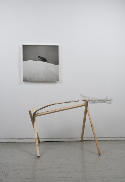 Jeri Coppola A Starkly Familiar, Simultaneously Unknowable Landscape gelatin silver print, wood and sculpture wire