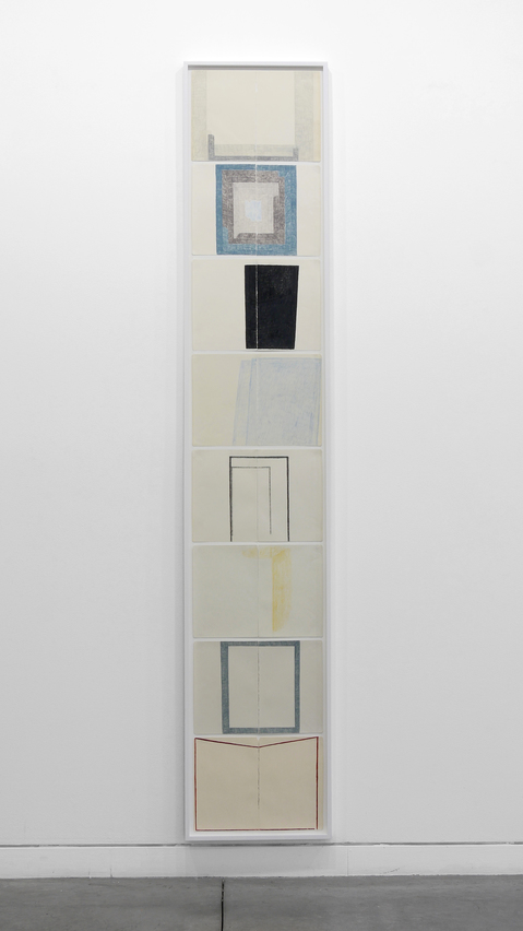 JESSICA DICKINSON  Are: > Altman Siegel > 2016 group of 8 drawings, colored pencil on paper with linen tape