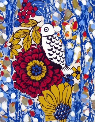 Jessica Weiss Birds 2008 Acrylic, ink and wallpaper on canvas