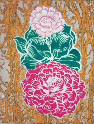 Jessica Weiss Flowers 2012 Silkscreen and acrylic on canvas