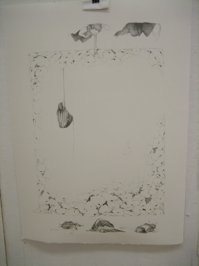 "Jillian Dickson (Ludwig) Graphite Drawings: ""PRICKLED LILLY PERCH"""