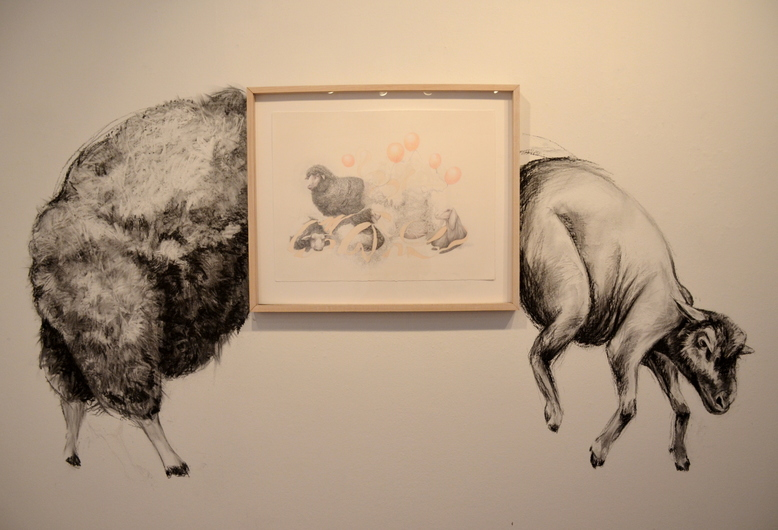 "Jillian Dickson  Color Pencil, Gouache, Charcoal Drawings: ""ETHICAL FARMING"" 2010 - Present"