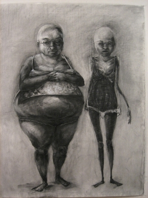 "Jillian Dickson  Charcoal Drawings: ""THIS, THAT""  Charcoal, Watercolor, Paper"