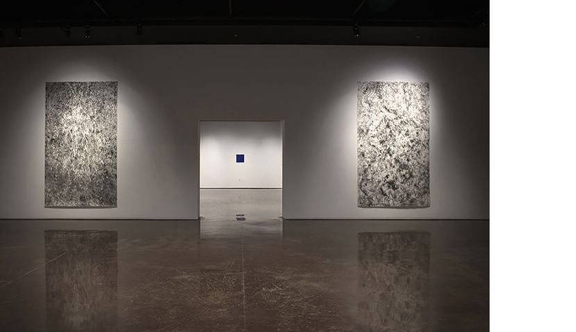 "Jill O'Bryan [TXST} Galleries ""Ground"" Drawings (foreground); ""Breath"" Drawing (background)"