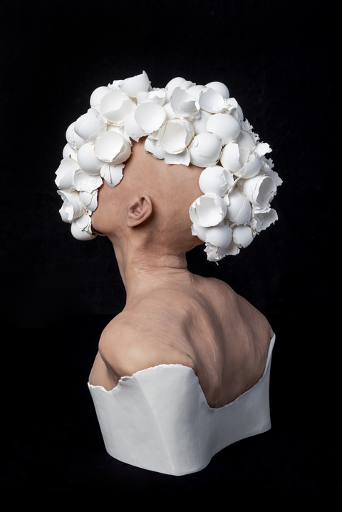 J.J. McCracken view RECENT WORKS Painted platinum silicone lifecast, eggshells, ceramic