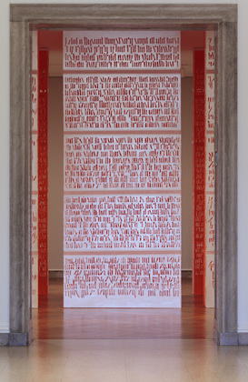 jennifer leigh caine Words in Air - Installation Acrylic, thread, vellum and paper