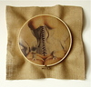 STRINGS ATTACHED  Wooden embroidery hoop, thread, burlap, digital photo