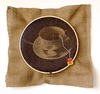 STRINGS ATTACHED  Wooden embroidery hoop, thread, burlap, digital photo, teabag label