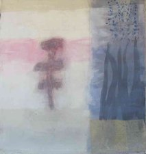 Joan K. Russell flower paintings mixed media, rice paper, acrylic and pastel on canvas