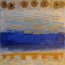 Joan K. Russell  abstract paintings mixed media, rice paper, acrylic on canvas