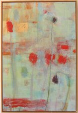 Joan K. Russell flower paintings Acrylic and rice paper on canvas