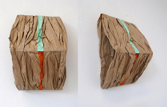 JOAN MELLON Paper brown crinkled paper, Elmer's glue, double-sided tape, acrylic paint, basswood and pine support