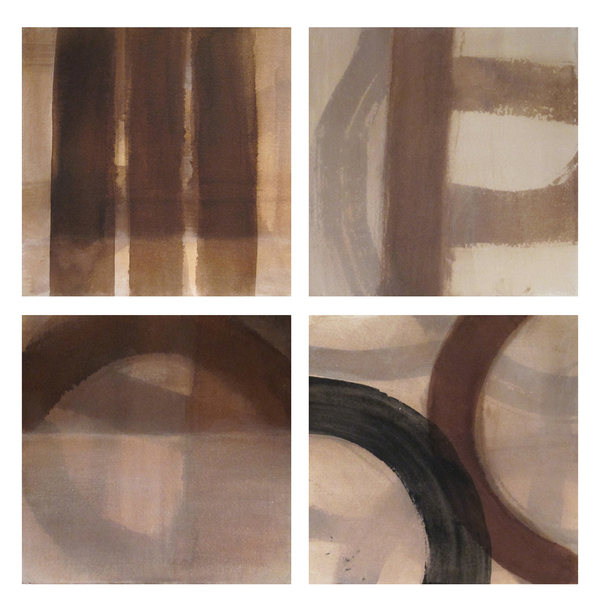JOAN MELLON PAINTINGS on PAPER walnut ink, acrylic paint