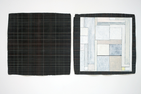 Joan Waltemath Diptychs black gesso, colored pencil on khadi paper