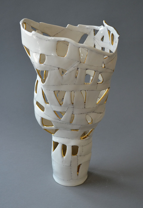 Jocelyn Braxton Armstrong Ceramics Play porcelain, black slip, 20k gold china paint
