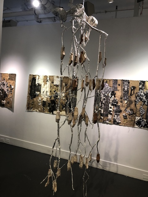 Past Exhibition Images red clay, white stoneware, porcelain, driftwood, branches, silver leaf, paint, oxides, wire, monofilament, fasteners