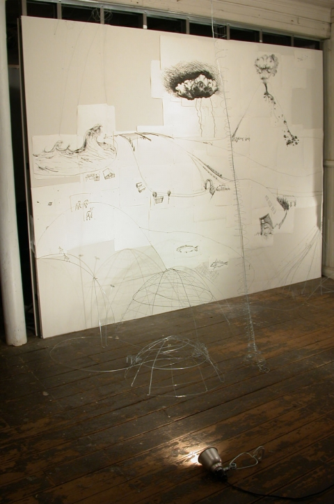 Johanna Byström Sims Sculptures ink on paper, wire, nails, sound
