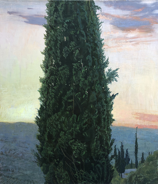 Paintings: 2017 – 2019 Dawn, Cypress Trees for Fallen Soldiers