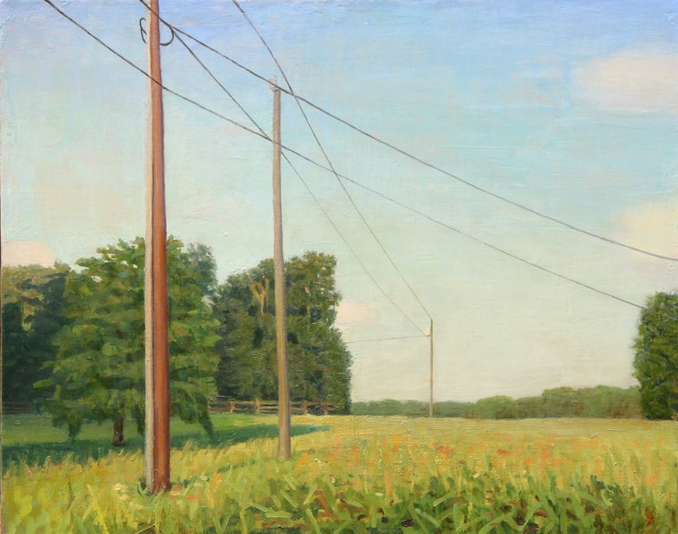 Paintings 2017-2020 Six-Acre Parcel Looking East, Late Afternoon, with Telephone Poles