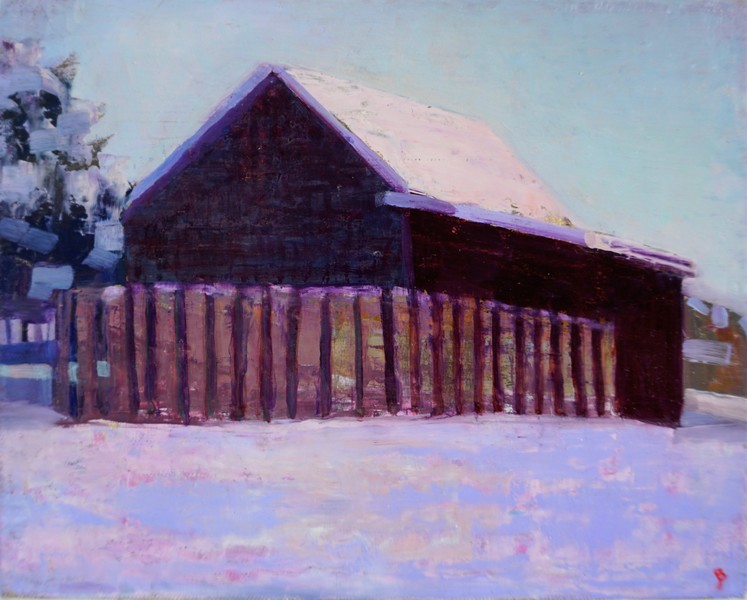Paintings 2017-2020 Winter Morning, Barn and Field