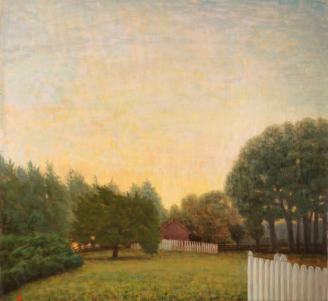 Paintings 2017-2020 October, 7a.m., Barn and Field