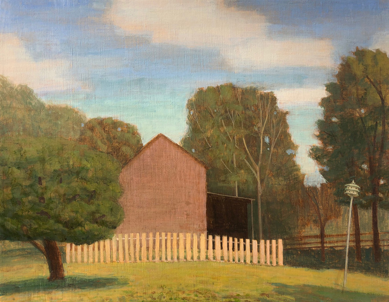 Paintings 2017-2020 October Barn and Field, Sunny Afternoon