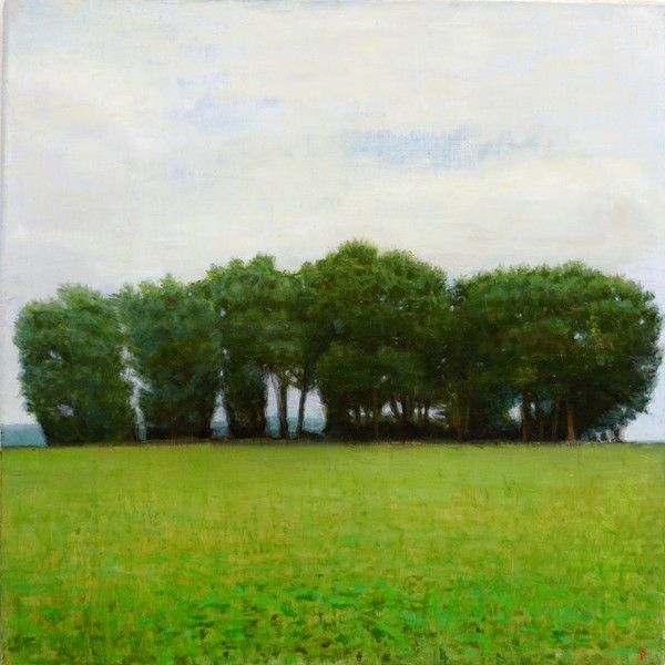 Paintings 2017-2020 Grey Day, Trees and Field