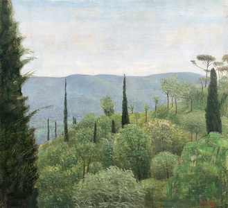 Hillside with Olive and Cypress Trees