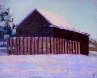 Winter Morning, Barn and Field